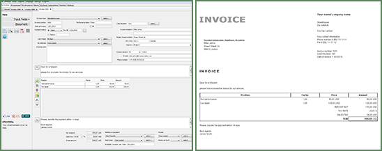 screenshot from invoice creator - Invoice Creator